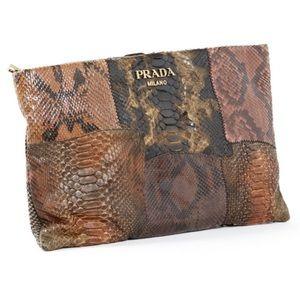 •Prada• Python Clutch with Gold Crossbody Strap